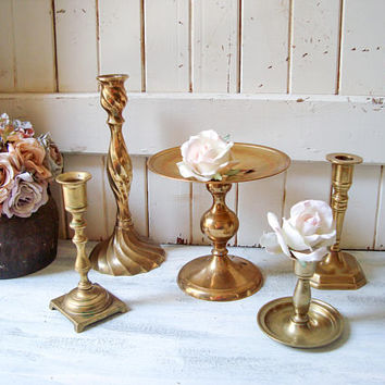 Vintage Brass Candle Holders, Rustic Farmhouse Candleholders, Wedding Table Candle Holders Mix Match Taper Candleholders Pillar Candleholder