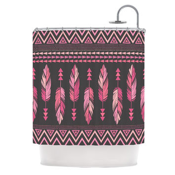 "Amanda Lane ""Painted Feathers Gray"" Pink Dark Shower Curtain"