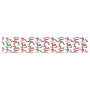 "Petit Griffin ""Dala Horse"" Red White Table Runner"