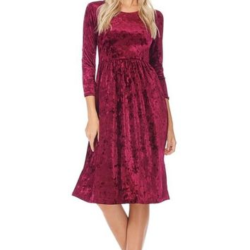 Wine Down Velvet Dress