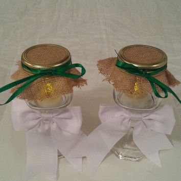 Burlap white green wedding candle jar / center piece set. Any color to match your wedding