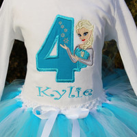 Girl Personalized Frozen Elsa Princess Inspired Birthday Tutu Outfit/ Frozen applique/ personalized/ blue white 1st 2nd 3rd 4th 5th Birthday