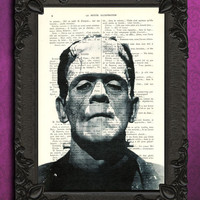 FRANKENSTEIN art print - Horror dictionary art print - black and white frankenstein monster home decor - halloween decoration book art