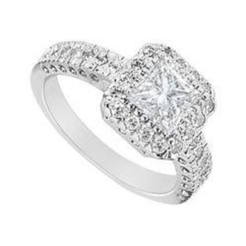 Halo Semi Mount Engagement Ring in 14K White Gold 0.50 CT Diamonds Not Included Center Diamond