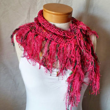 Hot pink Knit cotton scarf  Fringe cowl neck Light weight triangle shawl Fuchsia and black  With confetti colors Spring fashion accessory