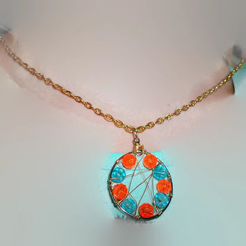 Orange and Teal Blue Silver and Gold Wire Wrapped Bead Dream Catcher Style  Pendant with Goldtone Chain Necklace Handmade Gift