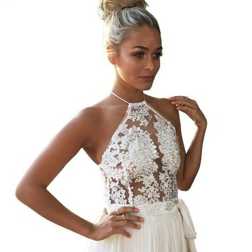 Women Elegant lace crop top
