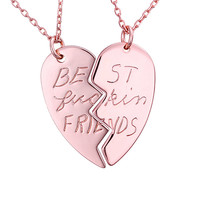 18K Rose Gold Plated Best F Friend Heart Shaped 2pcs Couple Pendant Necklace