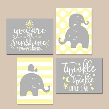 Girl Elephant Nursery Wall Art, Yellow Gray Decor, You Are My Sunshine, Twinkle Little Star, Baby Girl Decor, Polka Dot Set of 4 Quotes