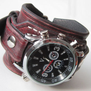 Mens Leather watch, Antique red rustic leather Wrist Watch, Vintage style Wrist Watch,