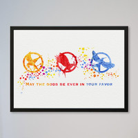 Hunger Game INSTANT DOWNLOAD Watercolor Print Wall Decor Fine Art Giclee Print Poster Home Decor Wall Hanging