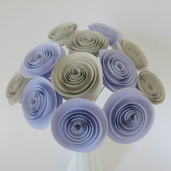 "12 lilac purple and grey paper flowers bunch, gray wedding decorations, stemmed floral arrangements, bridal shower centerpiece 1.5"" blooms"