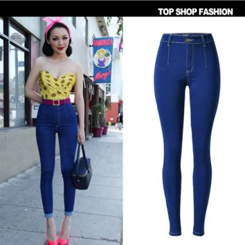 Hot sale fashion show thin tall waist  blue cowboy pants
