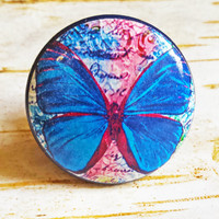 Blue Butterfly Knobs Drawer Pulls, Colorful Cabinet Pull Handles, Garden Dresser Knob Pulls, Choose Knob Color, Made To Order