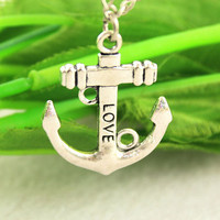 anchor necklace--love necklace, anchor pendant ,antique silver necklace,alloy chain