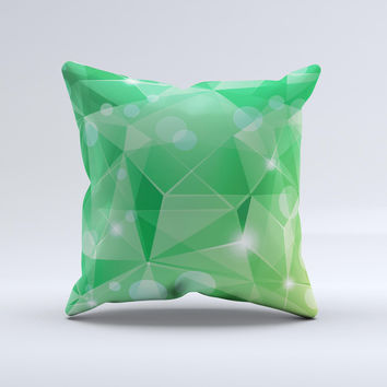 Vector Shiny Green Crystal Pattern Ink-Fuzed Decorative Throw Pillow