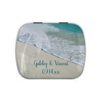 Tropical Beach Wedding Favor Jelly Belly Tin