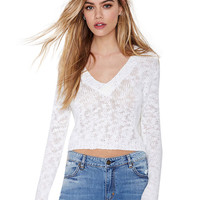 Deep V-Neck Long Sleeves Knitted Cropped Top
