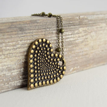 Long simple boho necklace. Bronze dotted heart necklace