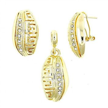 Gold Layered 10.59.0225 Earring and Pendant Adult Set, Leaf and Greek Key Design, with White Crystal, Polished Finish, Gold Tone