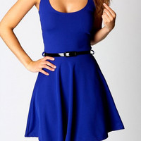 Simple Scoop Neck Sleeveless Blue Dress