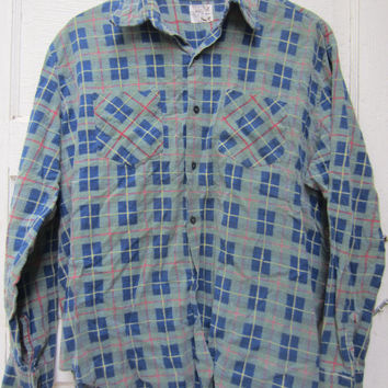 70s/80s Plaid Flannel Shirt by Montgomery Ward, Men's M-L // Vintage Green and Blue Utility Shirt // Plaid Outdoor Shirt