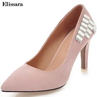 2018 New Women High Heels Pumps Shoes Woman Flock Pointed Toe Slip on Shallow Shoes Plus Size 33-45 Elissara