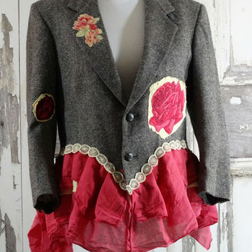 Tweed PInk and Yellow Suit Jacket Appliqued Roses Bustle Jacket Women's Blazer Eco Fashion Upcycled Clothing Romantic Clothing in Large