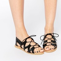 ASOS JUMP UP Leather Lace Up Leather Shoes