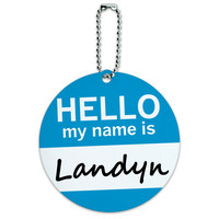 Landyn Hello My Name Is Round ID Card Luggage Tag
