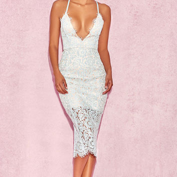 Clothing : Bodycon Dresses : 'Edeta' Light Blue Lace Plunge Dress