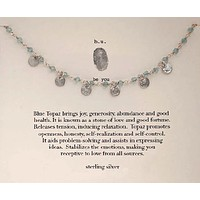 Sterling Silver Semi-Precious Stones Chain Necklace - Blue Topaz