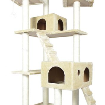 "73"" Cat Tree Condo Furniture Scratch Post Pet House Beige"
