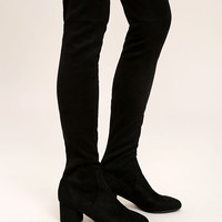 Steve Madden Isaac Black Suede Over the Knee Boots