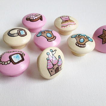 Hand Painted Princess Drawer Pulls / Dresser Knobs for Girls / Nursery Rooms