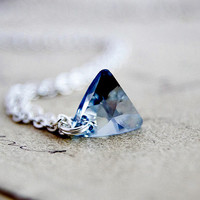 Triangle Prism Necklace Sterling Silver Swarovski Crystal Geometric Pale Blue Pendant