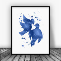 Lovebirds Blue Art Print Poster
