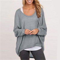 Loose Long Sleeves Irregular Pullover Sweater Top