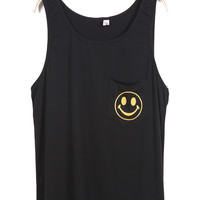 Black Sleeveless Smile Print Pocket Vest - Sheinside.com