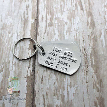 Hand stamped Not all who wander are lost but I am dog ID tag / mini military style dog tag / dog tags for dogs