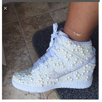 MAIL IN SHOES- Erin T- Custom White Pearl Nike Dunk Hi Wedges 34f1cf9bfaeb