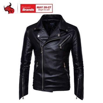 Trendy Motorcycle Jackets Men Vintage Retro PU Leather Jacket Punk Classical Windproof Coat Biker Faux Leather Moto Jacket AT_94_13