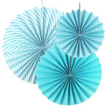 Spiral Paper Fan Hanging Decor, Light Blue, 8-inch, 12-inch, 15-inch 3-Piece