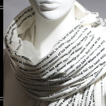 Pride and Prejudice book on the scarf  Ivory  Text by LiteratiClub
