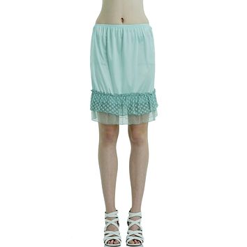 Women Bubble Lace Satin Half Slip Skirt Extender