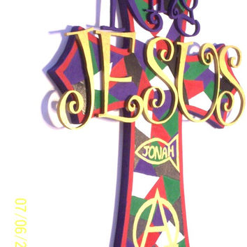Biblical Cross - Christmas Cross - Christian Wood Cross -  Alpha Omega - Christian Fish - Hand Painted King JESUS