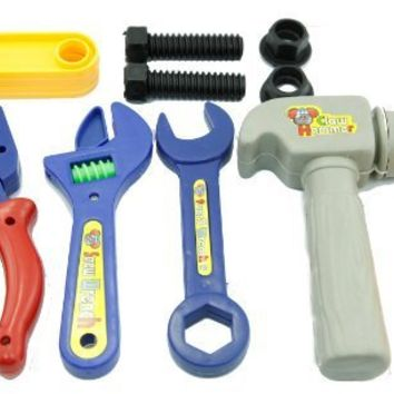 Plastic Toy Tools Set, Toy Wrench, Toy Hammer, Toy Screwdriver, Toy Carpenter Set, Toolbox Set, Toddler Mechanics Tools, Fine Motor Development Toy, Summer Toys, Colors May Vary