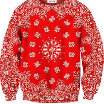 Revolution Riche Red Bandana Crewneck