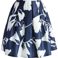 Contrast Watercolor Skirt in Navy Multi