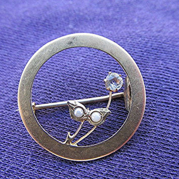 Vintage Edwardian brooch pin paste seed pearl 9ct gold silver vermeil antique estate.